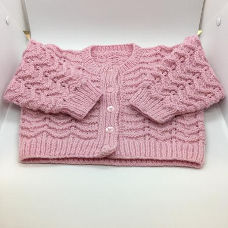 Pink Knitted Merino Wool Cardigan - 0-6 months