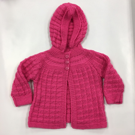 Pink Knitted Merino Wool Hooded Cardigan - 6-9 months