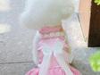 pink layered satin dress