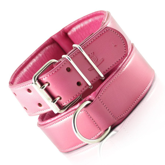 Pink Leather Dog Collar for Large Dogs by Rogue Royalty