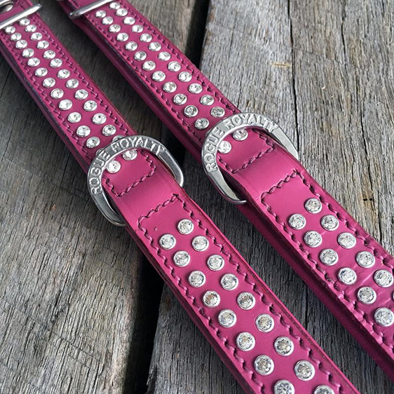 Pink Leather Dog Collar with Diamantes  for Large Dogs by Rogue Royalty