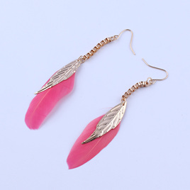 Pink Long Feather Leaf Drop Earrings