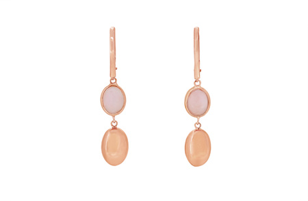 Pink Opal and Rose Gold Dangle Earrings
