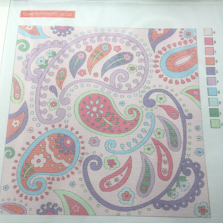 pink paisley needlepoint canvas