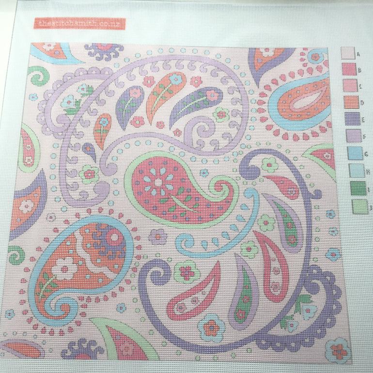 pink paisley needlepoint canvas