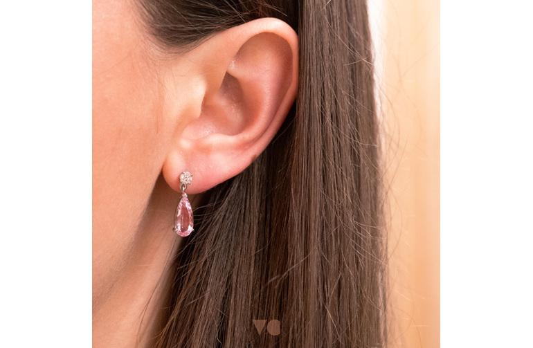 pink pear morganite and diamond earrings