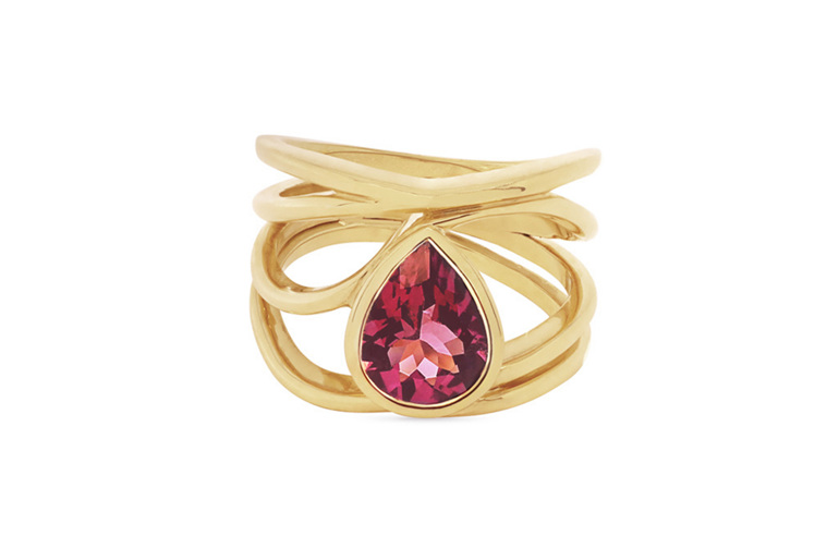 Pink pear shape tourmaline and 18ct yellow gold dress ring
