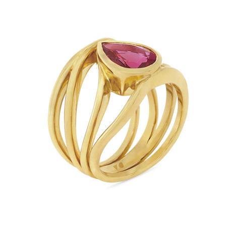 Pink Pear Shape Tourmaline Ring