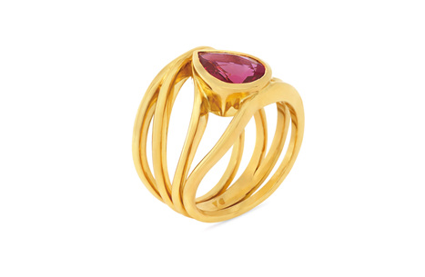 Pink Pear Shape Tourmaline Ring