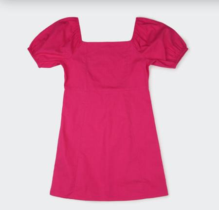 Pink Puff Sleeve Girls Dress