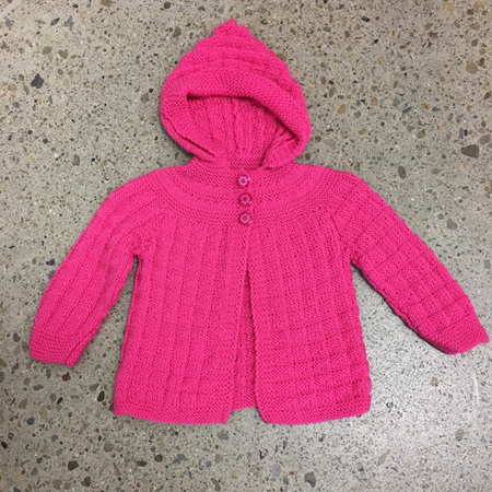 Pink Pure Wool Hooded Jacket - 3-6 months