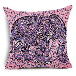 Pink & Purple Abstract Elephant Cushion Cover