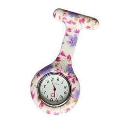 Pink & Purple Flowers Nurse Watch