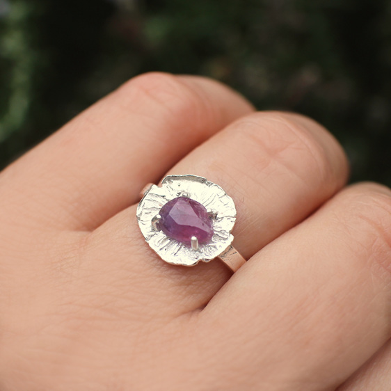 pink purple sapphire rose june flower floral sterling silver ring botanical