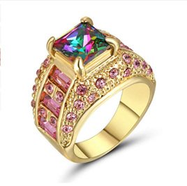 PINK & RAINBOW GEMSTONE RING WITH GOLD BAND - US8 (b144)