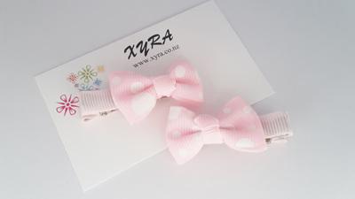 pink ribbon hair clips