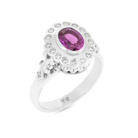 Pink Sapphire and Diamond Halo Cluster Ring