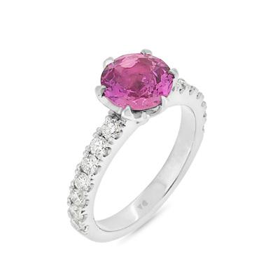 Round Pink Sapphire and Diamond Ring