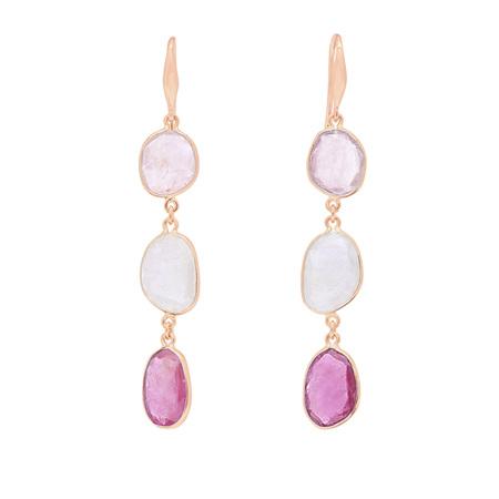 Pink Sapphire Triple Drop Earrings