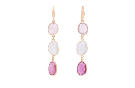 Pink Sapphire Triple Drop Earrings