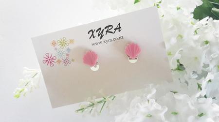 Pink Shell Clip-on Earrings