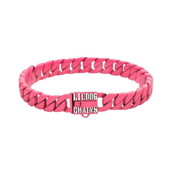 Pink Stainless Steel Custom Dog Collar for Lil Dogs by Big Dog Chains