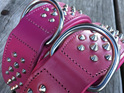 Pink Studded Leather Dog Collar for Large Dogs by Rogue Royalty