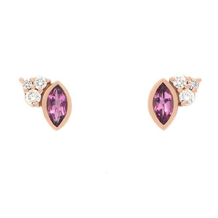 Pink Tourmaline and Diamond Stud Earrings