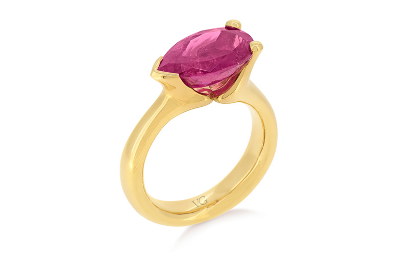 Pink Tourmaline, Dress Ring, Yellow Gold Ring, Cocktail Ring