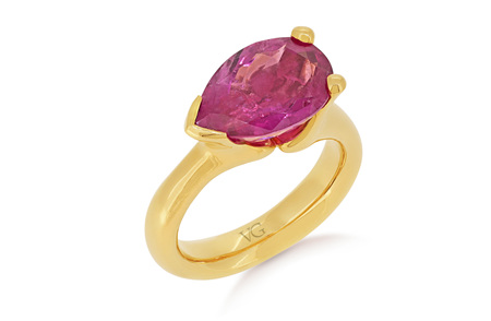 Pink Tourmaline Pear Cut Ring