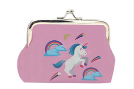 PINK UNICORN COIN PURSE WITH RAINBOWS AND STARS