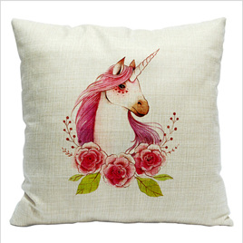 PINK UNICORN WITH ROSES CUSHION COVER