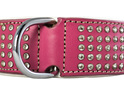 Pink wide leather dog collar with crystals for big dogs by Rogue Royalty