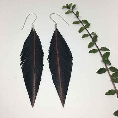 Pinned Earrings with Red Stripe