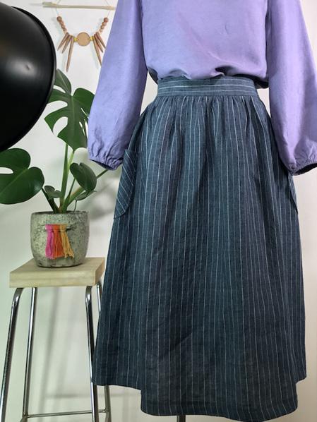 Pinstripe elasticated midi skirt