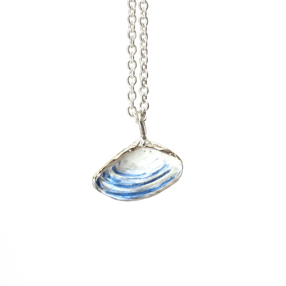 pipi shell sterling silver necklace pendant white blue nautical ocean beach