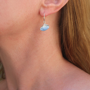 pipi shells sterling silver earrings hoop white blue nautical ocean beach