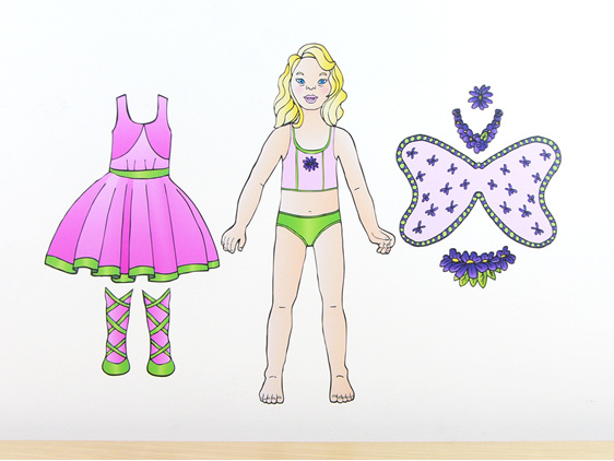 Pippa's Fairy Costume dress up doll wall decal