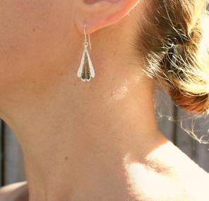 piwakawaka fantail bird feather bronze gold  sterling silver earrings worn