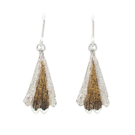 piwakawaka fantail feather bronze brown gold white sterling silver bird earrings