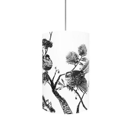 Piwakawaka, Fantail Light Shade - Black Silhouette