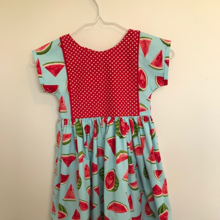 Pixie Dress (VFT): Blue b/g with watermelon print and red polka dot - Size 4 Toddler