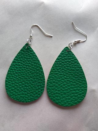 Plain Green Teardrop Earring