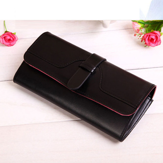 Plain Long Bright Wallet  - BLACK