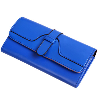 Plain Long Bright Wallet  - BLUE