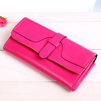 Plain Long Bright Wallet  - HOT PINK