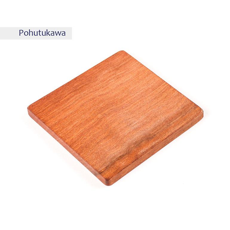 plain square coaster - pohutukawa