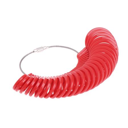 Plastic Measurement Finger Ring Sizer Tool *RED*