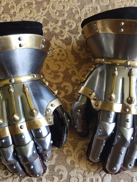 Plate 6B - 14th Century Hourglass Gauntlets with Brass Decoration