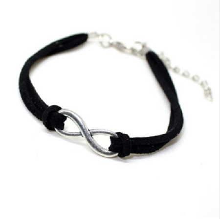 Plated Infinity Velvet Suede Bracelet *BLACK* -silver
